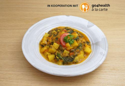 Kartoffel[-]curry mit indischem Spinat